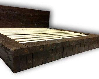 Reclaimed Wood Stack Platform Bed, Rustic Bed, Farm House Bed