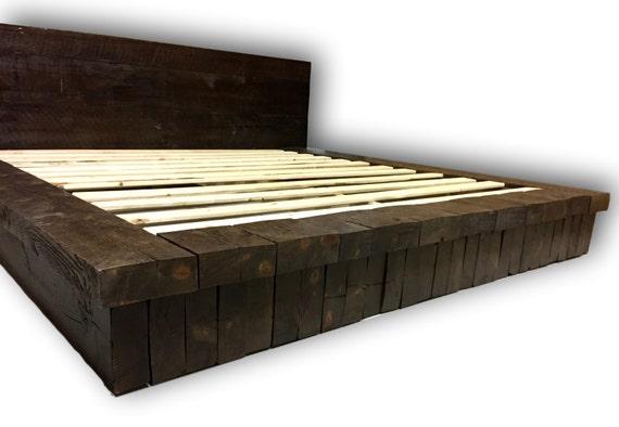 reclaimed wood stack platform bed rustic bed farm house bed. Black Bedroom Furniture Sets. Home Design Ideas