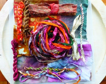 Hope Jacare Creative Textiles Hand dyed silk fabric, thread and recy. sari ribbon pack  - Large 09