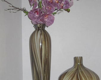 Vintage Set of Murano Glass Vases Marble Swirl.