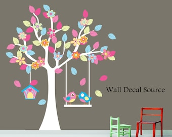 Nursery Tree Decal - Patterned Tree Decal - Birdhouse Wall Decal