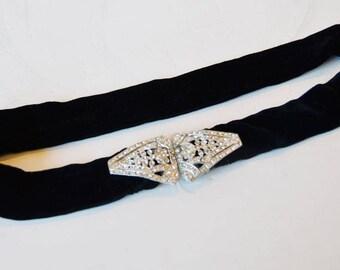 Victorian Black Velvet and Paste Stones Belt