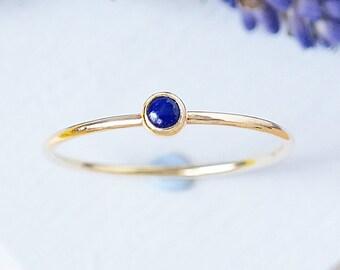 Gold Ring, Lapis Ring, Stacking Ring, Solid Gold Ring, Gemstone Ring, Dainty Gold Ring, Birthstone Ring, Stackable Ring, 9ct Gold Ring