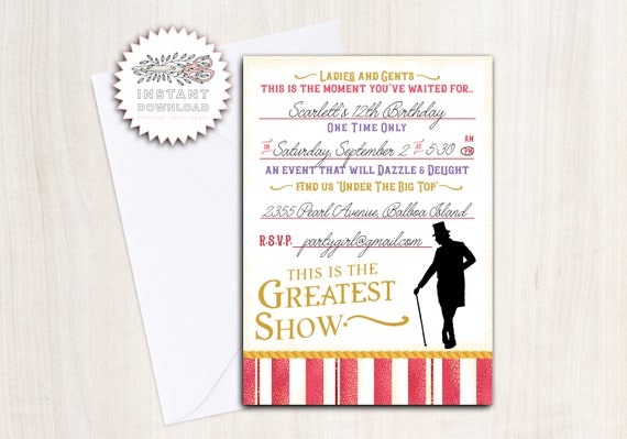 Greatest Show Birthday Party Invite - Instant Download Invitation