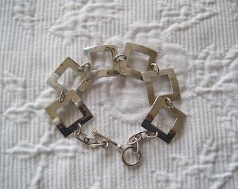 Vintage Sterling Silver Link Bracelet Modern Design