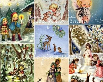 Woodland Christmas collage sheet 02 (printable, digital download)