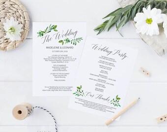 Printable Wedding Program, Wedding Program Template, Rustic Wedding, Ceremony Printable Template, Editable PDF Instant Download #E018