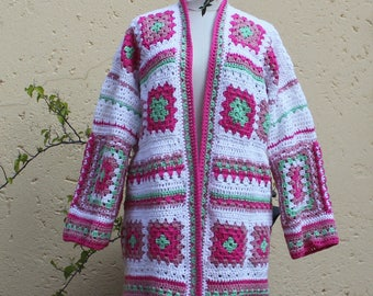 Spring cardigan , Granny square jacket , Crochet jacket , Womens  jacket , Granny square coat , Fuller figure , Handmade jacket , Summer .
