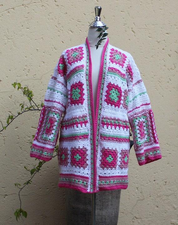 Frühling Strickjacke Oma quadratische Jacke häkeln Jacke