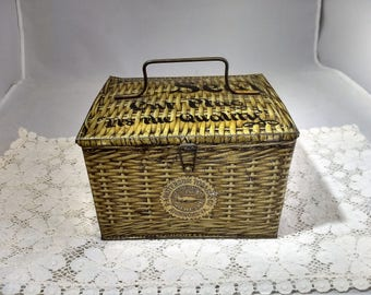 Pattersons Seal Cut Plug Tobacco Tin Woven Basket Pattern Lunch Pail Design 1930's #C69