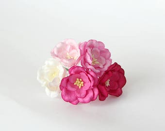 50 pcs - Shades of pink Magnolia - Big poppy paper flowers - Wholesale pack