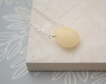 Honey Jade Necklace, Sterling Silver Pendant Necklace, Teardrop Gemstone Necklace Handmade, Faceted Briolette Necklace for Women Long Simple