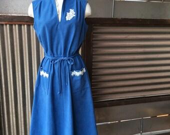 Altered Vintage Blue Bell Dress w/ Handsewn Lace Appliques L