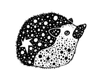 Hedgehog Drawing Digital Art Print