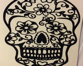 Sugar skull decal, skull vinyl decal, dia de los muertos,  tumbler decal, sugar skull, tumbler decor, window decal, glass decal, cup decal