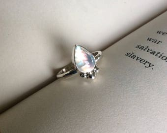 Silver Moon - Moonstone Teardrop Sterling Silver Ring