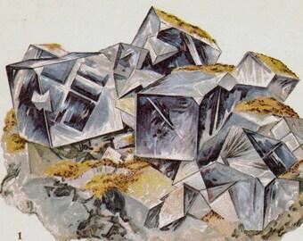 Fluorit & Fluor-Spar Kristallstein Mineral Jahrgang Lithographie Edwardian Geologie Druck zu Rahmen 9