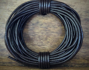 Brown Round Leather Cord | 1.5mm | 5 metres (5.47 yards)
