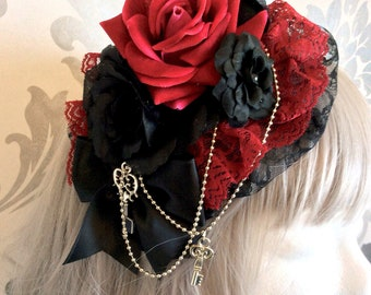 Pretty Gothic Lolita Headdress, key, pendant, lace, burgundy, black, roses, chain, headpiece, headband, fascinator, pearls