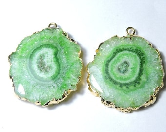 2 Pcs Matched Pair Natural Round Shaped Green Electoplated Edge Solar Quartz Druzy Slices Size 36X34 MM