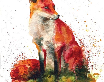Fox watercolour watercolor illustration original or print
