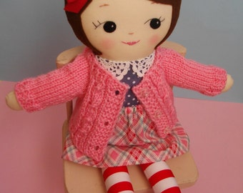 Heirloom Ragdoll - Handmade cloth doll classic dress-up rag doll with skirt and hand-knitted cardigan - Made to Order