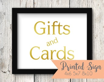 Foiled Wedding Gifts and Cards Sign, Gold Foiled Wedding Reception Sign, Wedding Gifts & Cards Sign, REAL Foil 4x6, 5x7, 8x10 (S004-PR-F)
