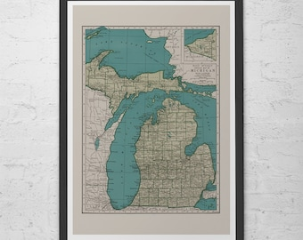 VINTAGE MICHIGAN MAP  - Vintage Map of Michigan Wall Art - Vintage Map Reproduction, Historical Wall Art, Home Decor