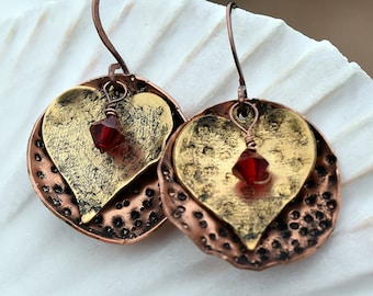 Mixed Metal, Heart and Swarovski Earrings, You Customize, Dimpled Metal, Antique Copper, Antique Brass, Red Swarovski, Dangle Earrings