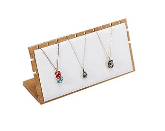 Necklace Display Stands Wood Bamboo PU Leather for Store Trade Show