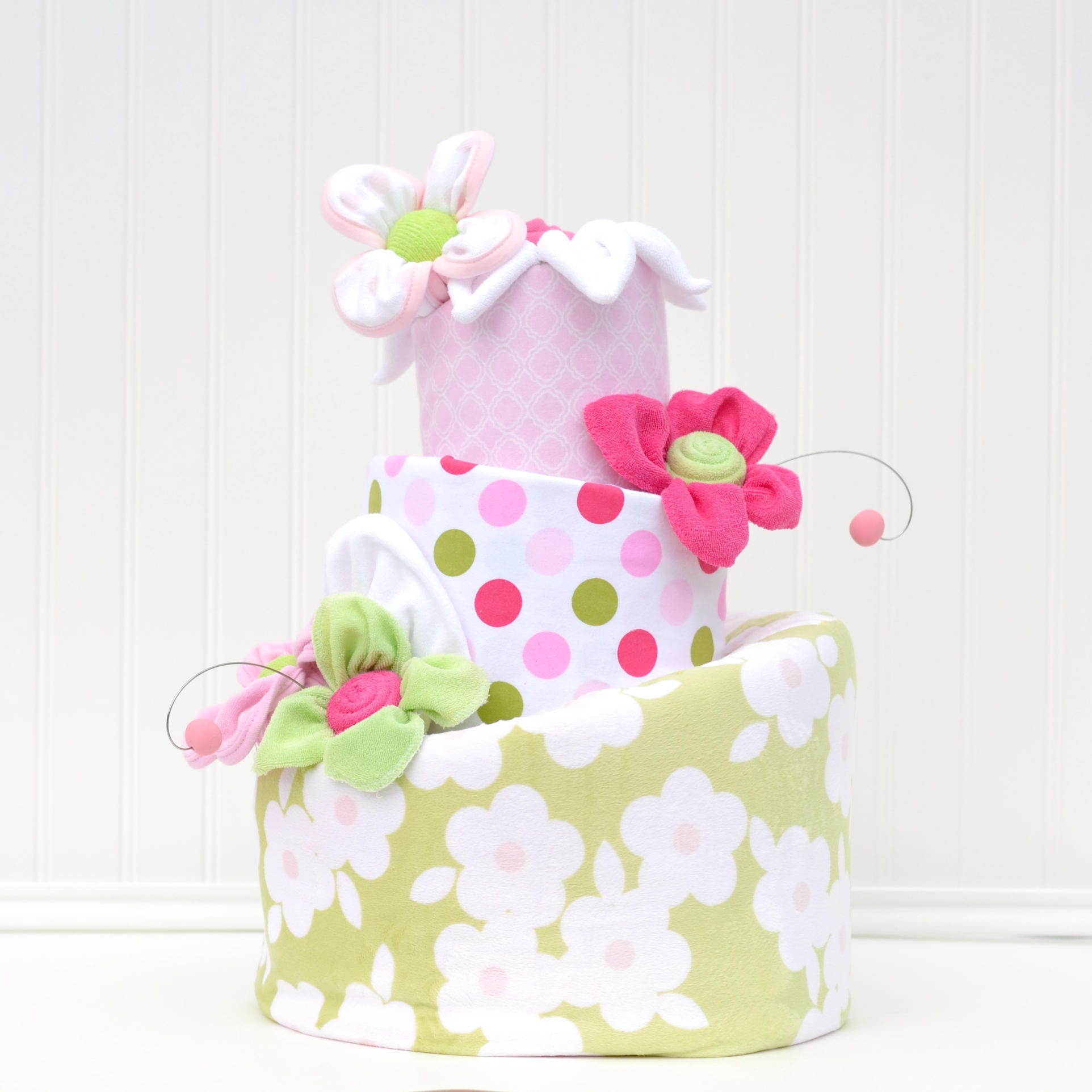 Flower Baby Shower Cake: Diaper Cake Pink And Green Baby Shower Floral Diaper Cake