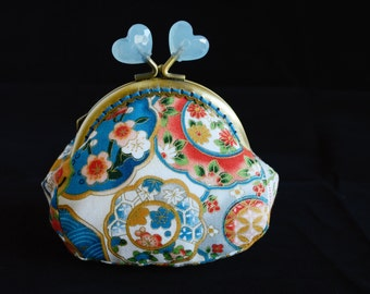 Blue floral hand crafted Japanese bronze metal kiss lock frame coin purse clutch with heart-shaped clasp