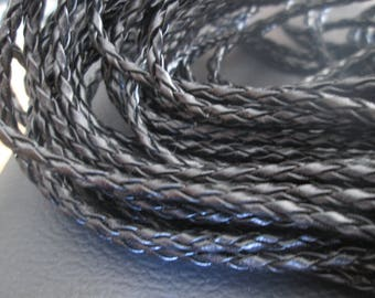 faux round 3 mm black braided leather cord