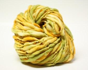 Handspun Thick and Thin Merino Yarn Slub ttS(tm) Hand dyed Self Striping Harvest