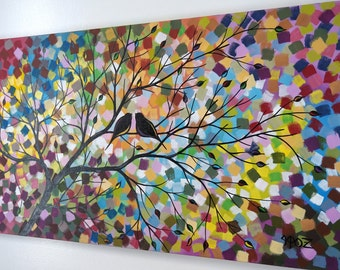 Large Love Birds in Tree Painting Silhouette Acrylic Lovebird Canvas Art Modern Abstract Romance Colorful Over the Bed  18X36 JMichael