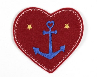 Patch Anchor heart 8,5 x 7,5cm