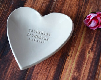 Baptism Gift, Baptismal Gift - Large Personalized Heart Bowl  - With Gift Box