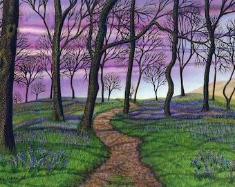 "Art Print: ""Bluebell sky"" - A4 spring print, wall art, tree print, bluebell wood, lilac purple art, from an original painting by Liz Clarke"