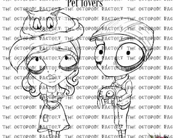 INSTANT DOWNLOAD pet lovers set of digital stamps