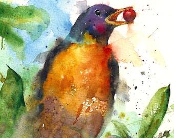 ROBIN Watercolor Bird Print by Dean Crouser