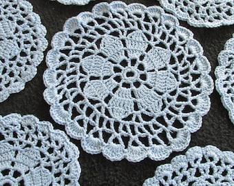 D71 – 7 PC Vintage Crochet French Blue Coaster Doily Set Floral Flower
