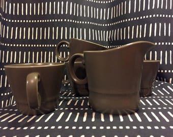 Olive Green set of 4 cups & 1 Jug. 1970's Retro. Vintage Crockery