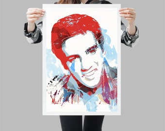 Elvis Presley Pop Art Portrait - Rock art room decor -  Available in different sizes. Check the drop-down menu for your choice.