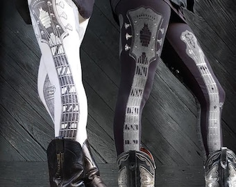 guitar print legging, rock n roll art, clothing, womens bottoms, pants, athletic wear, stage clothing