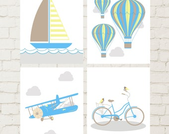 Transportation nursery art, toddler boy art, airplane nursery, boat nursery, hot air ballon, bike wall art, boys wall art, set of 4