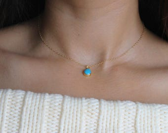 Dainty Turquoise Teardrop Necklace  Genuine Turquoise Necklace   Gold Filled Chain Delicate Necklace For Layering