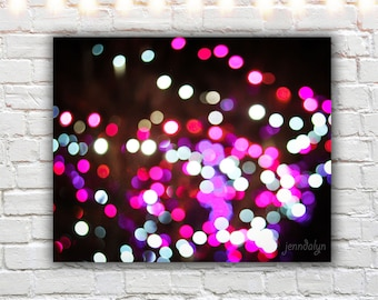 pink abstract lights photography - bokeh print - magenta wall art