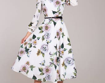 White summer dress, summer midi dress, floral dress with long sleeves, white dress, casual summer dress, printed dress, vacation dress