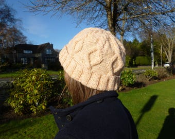 KNITTING PATTERN, Craigievar Cabled Hat, PDF Knitting Pattern, hat, cabled, dk, worsted, child, adult, designed in Scotland, download