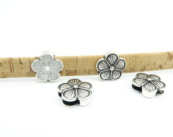 10 Pcs For 10mm flat leather,Antique Sliver Flower jewelry supplies jewelry finding D-1-10-34